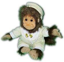 """12"""" VINTAGE HOSUNG 1994 BABY MONKEY CHIMP WITH BIB AND PACIFIER PLUSH 17-10"""