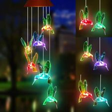 Color-Changing Led Solar Powered Hummingbird Wind Chime Garden Hanging Light