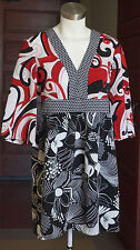 Daisy Fuentes Dress S 3/4 Oriental Kimono Wing Sleeves Zip VNeck White Red Black
