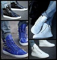 Mens Punk Studded Rivet Black Spike Lace Up Sneakers High Top Shoes Ankle Boots