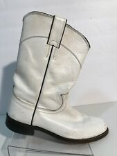 Justin Western Boots Womens Size 7 B White Leather Cowgirl Roper Round Toe