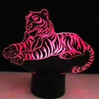 3D night light tiger animal lamp table 7 color LED optical illusion lighting kid