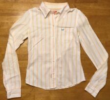 Hollister Women's White & Orange Striped Long Sleeve Dress Shirt - Size: Small