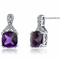18K White Gold Plated Created Round Amethyst Basket Set Stud Earrings