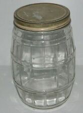 """Very Old Barrell Jar , Screw Cover Lid  9.5"""" tall Jar For Cookies Snacks Noodles"""