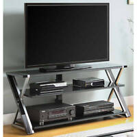 TV Stand for 65 Flat Panel TVs w/ Tempered Glass Shelves Entertainment Stands