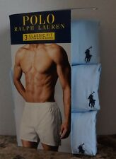 Polo Ralph Lauren XL WOVEN BOXER 3 PACK 100% Combed Cotton Light Blue 40-42