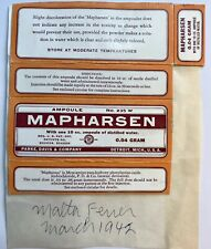 Mapharsen 1942 Medicine Pharmacy  Label Packaging Park Davis Detroit MI Doctor