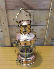 Antique Brass Copper Anchor Oil Lamp Maritime Ship Lantern