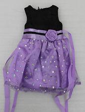Schönes Party Puppen Kleid Lila Schwarz Länge 30 cm lang