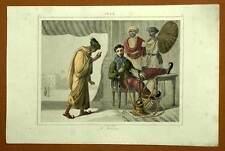 INDE PIPE A EAU NARGUILE CHICHA gravure estampe  originale aquarellée 1841