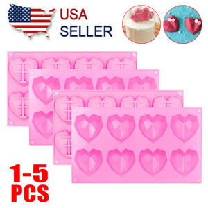 8 Cups Silicone Cake Mold Chocolate Bombs Mould 3D Heart shaped Baking Tool Pink