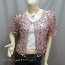 Chic Applique Embroidery Mesh Shrug Bolero Top Pink L~XL