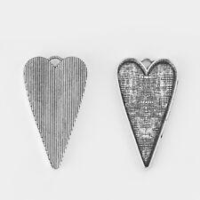 5 x Antique Silver Heart Pendant Trays Blank Bezel Cameo Cabochon Base Settings