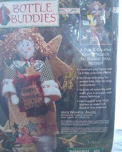 Vtg 1996 Dimensions Bottle Buddies Kit Wishful Angel Craft kitsch Christmas
