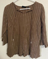 Avenue Women's Boho Style Brown 3/4 Sleeve V Neck Tunic Top Size 18/20