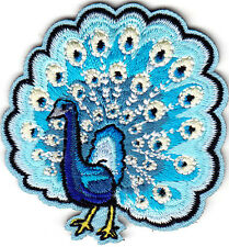 PEACOCK, BLUE SHADES - IRON ON EMBROIDERED PATCH - BIRDS - PEACOCKS