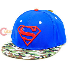 DC Comic Superman Camo Royal Sanpback Hat Trucker Flat Bill Cap Mens Hat