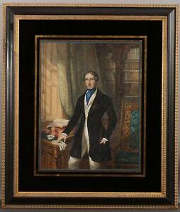 19thC Antique English Equestrian Gentleman Portrait Interior Watercolor Painting