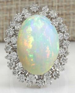 11.15 Carat Natural Opal 14K White Gold Diamond Ring