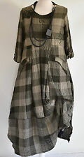 FAB GERMAN ZEDD.PLUS quirky/lagenlook MOSS CHECK  parachute dress XXL/XXXL