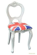 Dusx Vintage Retro Union Jack Boys Room White Wooden Dining Chair
