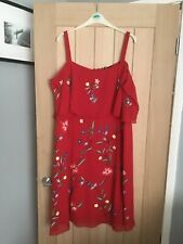 Very Red Cold Shoulder Sequin Size 20 Dress
