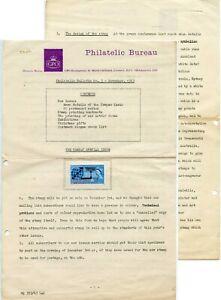 GB 1963 CABLE OVERPRINT CANCELLED on ENTIRE GPO PHILATELIC BUREAU BULLETIN SHEET