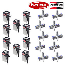 Set of 10 Delphi Ignition Coils and Champion 3013 Spark Plugs for Ford Motor Co