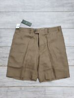 NWT $195 Ermenegildo Zegna Brown 100% Linen Lightweight Shorts w/ Pockets sz 38