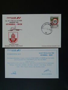 Concorde first flight Istanbul Turkey to Nice 1988 flown cover 101203