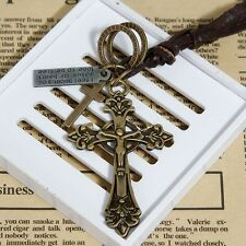 Vintage Bronze Crucifix Celtic Cross adjustable leather cord with rings and tag