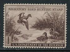 Scott Rw9 1942 $1 Duck Stamp Issue Mh Og Vf Cat $95!
