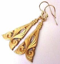 EARRINGS Art Deco Nouveau Floral Scroll Gold Repousse Dangle Drop Hooks Gift Bag