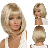 Women Ladies Light Blonde Wig Short Straight Bob Wig Fancy Dress Costume Cosplay