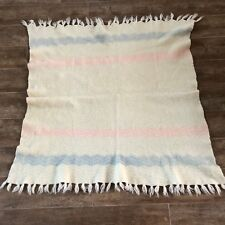 """Antique baby blanket 1930s pink and blue 40"""" knit lap christening reborn doll"""