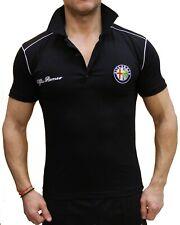 Alfa Romeo Sport Polo EMBROIDERED LOGO Schwarz Baumwoll T-Shirt für Herren Auto