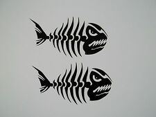 2 x Angry Fish Bones Stickers Vinyl Skeleton VW Camper JDM Surf Skate Snow Ski