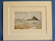ST. MICHAEL'S MOUNT CORNWALL RARE VINTAGE DOUBLE MOUNTED PRINT G F NICHOLLS10X8