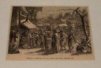 1876 small magazine engraving ~ SUNDAY MORNING, JEWS QUARTER AMSTERDAM