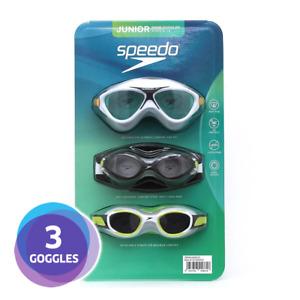 [3 PACK] Speedo Junior Kids Unisex Swimming Goggles | UV Protection, Anti Fog