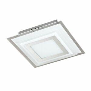 Wofi Nancy Square Flush Ceiling Light LED, Metal Shade Glass 18cm W x 18cm D