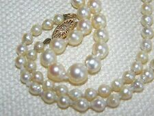 vintage CULTURED pearls necklace 14ct gold clasp ~ graduated in size ~