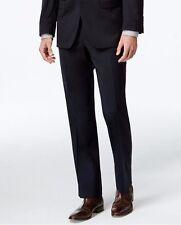 Calvin Klein Men's Navy Blue Slim Fit Wool Unhemmed Suit Dress Pants Size 38W