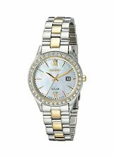 New Seiko Women's Solar MOP Dial Two Tone Stainless Steel Crystal Watch SUT074