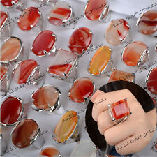 Wholesale Lots 5PCS Mixed Silver Assorted Big Red Natural Agate Stone Rings FREE