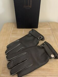 BN BOXED DUNHILL DEERSKIN BROWN LEATHER CASHMERE LINED GLOVES SIZE 8.5 MEDIUM