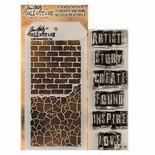 TIM HOLTZ Mixed media stamp & stencil INSPIRATIONAL THMM102 for stamping