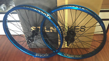 STOLEN BMX COMPLETE WHEEL SET REAR FRONT BLUE RHD WHEELS SEALED DOUBLE BIKE
