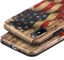 iPhone X / XS -TPU Rubber Gummy Case Cover Brown Wood USA America Patriotic Flag